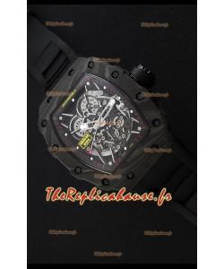 Montre Richard MilleRM35-2 Rafael Nadal Etui en Carbone Forgé avec Bracelet en caoutchouc noir