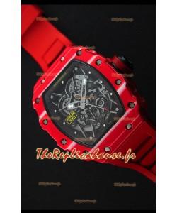 Montre Richard MilleRM35-02 Etui en une seule pièce forgé en carbone avec Bracelet rouge