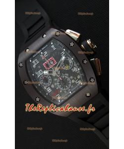 Montre Richard MilleRM011-FM Felipe Massa Étui en Céramique d'une seule pièce avec Bracelet Noir