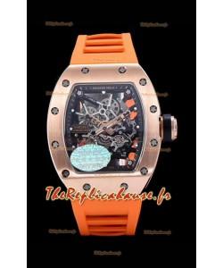 Richard Mille RM035 AMERICAS Montre réplique en or rose 18 carats avec bracelet orange
