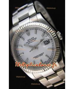 Montre Rolex Datejust 36mmCal.3135 Mouvement Suisse à Cadran Blanc et Bracelet Oyster Répliquée — Montre en acier ultime 904L