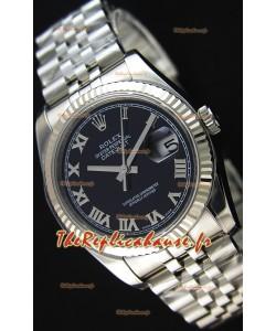 Montre Rolex Datejust 36mmCal.3135 Mouvement Suisse à Cadran Noir et Bracelet Jubilé Répliquée — Montre en acier ultime 904L