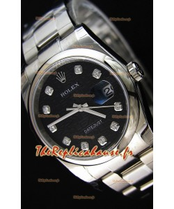 Montre Rolex Datejust 36mmCal.3135 Mouvement Suisse à Cadran Noir Imprimé Répliquée