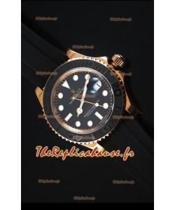 Montre Replica Miroir Ultime 1:1 Rolex Yachtmaster 116655 Everose Céramique et OR