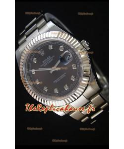 Rolex Datejust II 41MM avec Mouvement Cal.3136  Montre Réplique Suisse en cadran gris avec les marqueurs de diamants