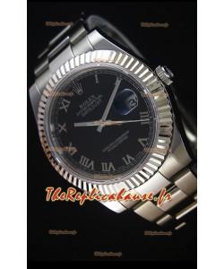 Rolex Datejust II 41MM avec Mouvement Cal.3136  Montre Réplique Suisse En cadran noir avec Chiffres romains