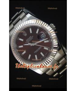 Rolex Datejust II 41MM avec Mouvement Cal.3136  Montre Réplique Suisse en Cadran brun et Marqueurs de bâton