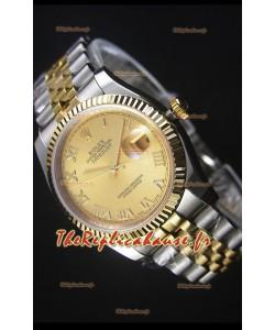 Rolex Datejust Montre Réplique avec Cadran en Or romain 36MM avec Mouvement Suisse 3135