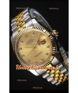 Rolex Datejust Montre Réplique avec Cadran en Or et de diamants 36MM avec Mouvement Suisse 3135