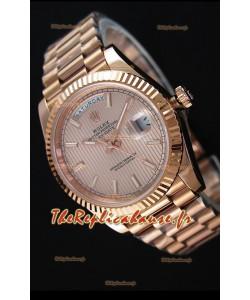 Rolex Day-Date 40MM Montre Suisse avec Cadran texturé en Or Rose Chiffres romains