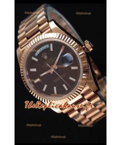 Rolex Day-Date 40MM Or Rose avec Cadran texturé Brun Marqueurs de bâton