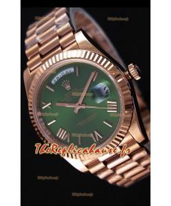 Rolex Day-Date 40MM Or Rose avec Cadran Vert et Chiffres des heures Romaines