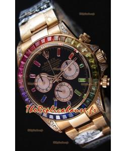 Rolex Cosmograph Daytona 116595RBOW Or rose 1:1 Miroir Cal.4130 Mouvement - Montre Ultime Acier 904L