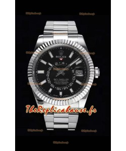 Rolex Sky-Dweller REF# 326934 Montre à cadran noir dans un boîtier en acier 904L Réplique miroir 1:1