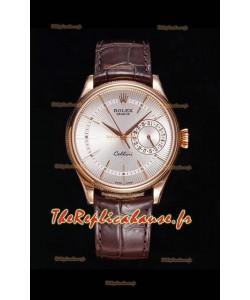 Rolex Cellini Date Ref#50515 Réplique 1:1 Miroir Montre en or rose 904L cadran blanc