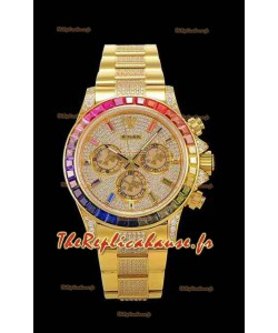 Montre Rolex Daytona ICED OUT en or jaune Mouvement original Cal.4130 - Montre en acier 904L à miroir 1:1