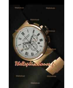 Chronographe Ulysse Nardin Marine avec cadran noir à chiffres romains blanc et or rose - Réplique miroir 1:1