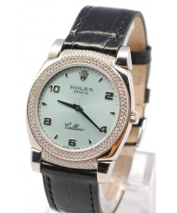 Rolex Cellini Cestello Femmes Swiss Montre Face Bleue Bracelet de Cuir Noir Cornes et Lunette de Diamants