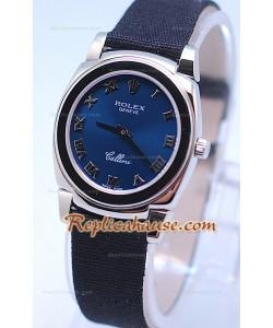 Rolex Cellini Cestello Femmes Swiss Montre Bracelet en Nylon Face Argent Bleue Romaine