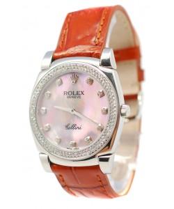 Rolex Cellini Cestello Femmes Swiss Montre Index Horaires et Lunette de Diamants Bracelet de Cuir Face Nacrée Rose