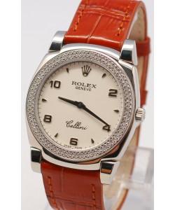 Rolex Cellini Cestello Femmes Swiss Montre Face Blanche Bracelet de Cuir Lunette de Diamants