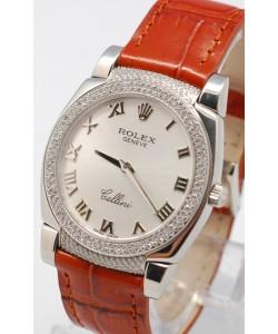 Rolex Cellini Cestello Femmes Swiss Montre Face Argent Bracelet de Cuir Cornes et Lunette de Diamants