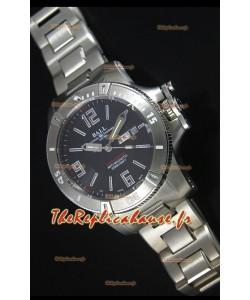 Réplique de montre automatique Ball Hydrocarbone Spacemaster sur cadran noir avec date du jour - mouvement Citizen original