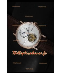 Réplique de montre suisse Classique Tourbillon Breguet en or rose avec lunette sertie de diamants