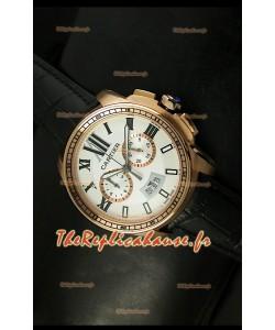 Calibre de Cartier Reproduction Montre Chronographe Japonaise en Or Rose