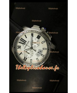 Calibre de Cartier Reproduction Montre Chronographe Japonaise en Acier