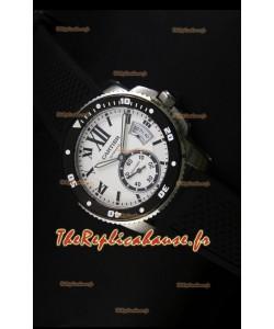 Montre Calibre de Cartier avec boîtier en acier et cadran blanc 42mm - Réplique de montre miroir 1:1