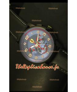 Montre chronographe Scuderia Ferrari Heritage avec cadran bleu et boîtier en acier noir