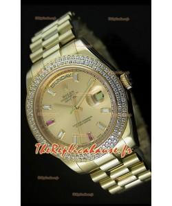 Réplique de montre suisse Rolex Day Date II 41MM - Cadran or - Réplique de montre miroir 1:1