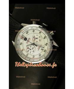 Réplique de montre Tag Heuer Carrera Calibre 36 Flyback avec cadran blanc - Mouvement Quartz