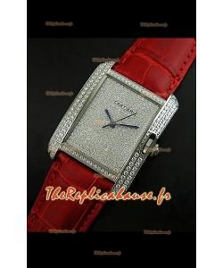 Cartier Tank Anglaise Reproduction Montre Pour Femmes en Acier/Bracelet Rouge