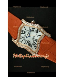 Cartier Tank Folle Reproduction Montre Pour Femme avec Boitier en Or Jaune/Bracelet Orange