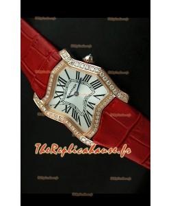 Cartier Tank Folle Reproduction Montre Pour Femme avec Boitier en Or Jaune/Bracelet Rouge