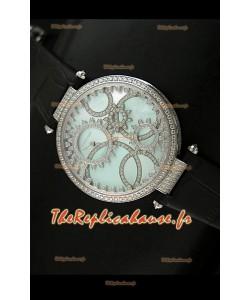 Cartier Reproduction Montre avec Lunette Cadran Incrustés de Diamants dans un Boitier en Acier/Bracelet Noir