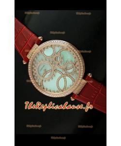 Cartier Reproduction Montre avec Lunette Cadran Incrustés de Diamants dans un Boitier en Or/Bracelet Marron