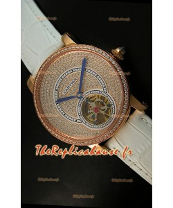 Ronde de Cartier Tourbillon Reproduction Montre Boitier en Or Rose - Bracelet Blanc