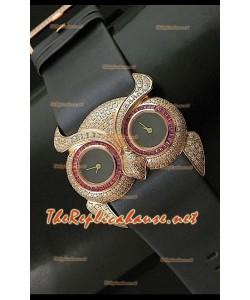 Chopard Animal World Femmes Owl Montre avec Cadran Noir Or Rose