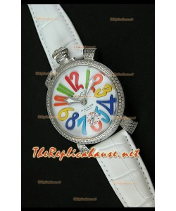 GaGa Milano Manuale Japanese Montre Cadran Blanc Lunette de Diamants