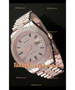 Rolex Day Date II Swiss Montre - 41 mm avec Lunette de Diamants Ronds et Or Rose