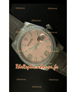 Rolex Imitation Datejust Montre Suisse Reproduction - 37MM - Cadran Champagne/Bracelet Gris