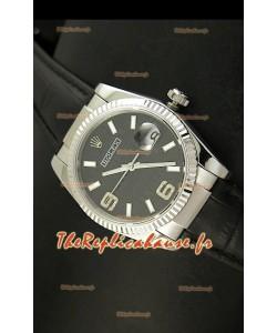 Rolex Imitation Datejust Montre Suisse Reproduction - 37MM - Cadran/Bracelet Noir