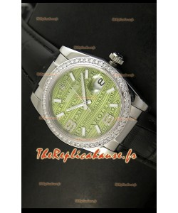 Rolex Imitation Datejust Montre Suisse Reproduction - 37MM - Cadran Noir Bracelet Vert