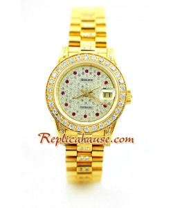 Rolex Replique Datejust Femmes d' or - Diamonds Dial Montre