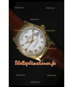 Réplique de montre suisse en or jaune Rolex Day Date 36MM - Cadran blanc