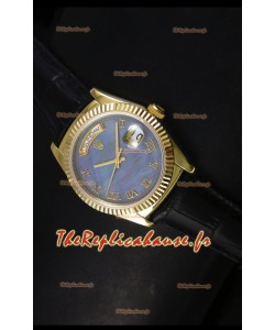 Réplique de montre suisse en or jaune Rolex Day Date 36MM - Cadran MOP bleu