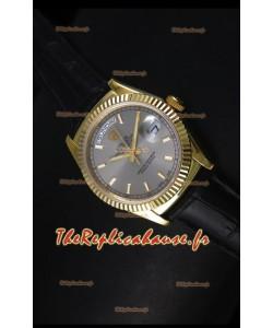 Réplique de montre suisse en or jaune Rolex Day Date 36MM - Cadran gris